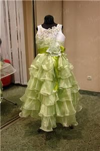 FLOWER GIRL PAGEANT PARTY HOLIDAY DRESS 3940 WHITE GREEN SIZE 6