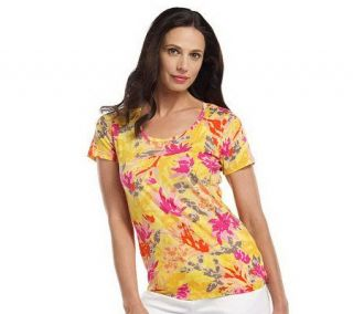 Isaac Mizrahi Live Short Sleeve Painterly Floral T Shirt —