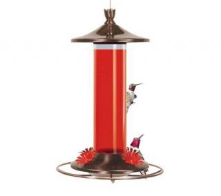 Copper and Glass Hanging Hummingbird Feeder —