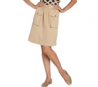 Isaac Mizrahi Live A Line Cargo Skirt with Pocket Detail   A202541