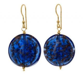 Murano Glass Gold Plated Silver Round DiscDangle Earrings —