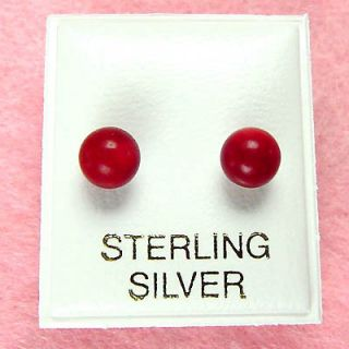 Sterling Silver 6mm Red Coral Stud Earrings SE172