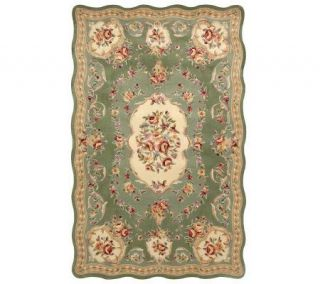 Royal Palace OrnateScalloped Savonnerie 7x9 Handmade Wool Rug