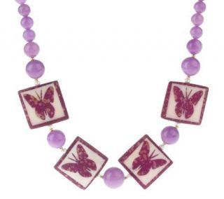 Lee Sands Butterfly Tile & Cultured Pearl Necklace   J260698