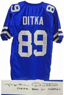 Mike Ditka Signed Cowboys Throwback Jersey w Super Bowl VI Champs