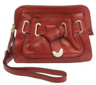 Makowsky Glazed Leather Zip Top Crossbody Bag w/Belted Accent