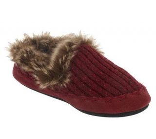 Acorn Indoor/Outdoor Tweed Knit Slippers with Faux Fur Trim —