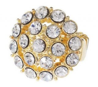 As Is Isaac Mizrahi Live Perfect Crystal Round Stretch Ring   J276791
