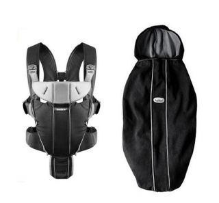BabyBjorn Baby Carrier Miracle   Black/Silver, Cotton & Carrier Cover