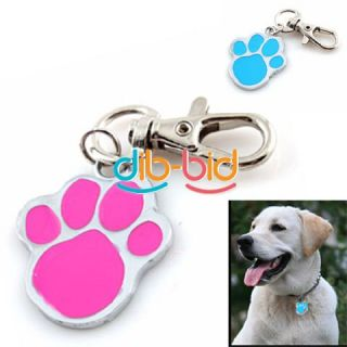 New Cute Stainless Steel Foot Print Engraved Puppy Pet Dog Cat ID Name