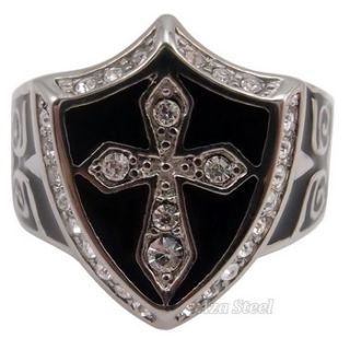 Mens Silver Black Crystal Cross Noble Knight Stainless Steel Ring