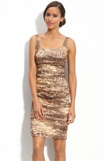 Nicole Miller Ruched Leopard Print Sheath Dress