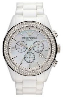 Emporio Armani Round Ceramic & Crystal Watch