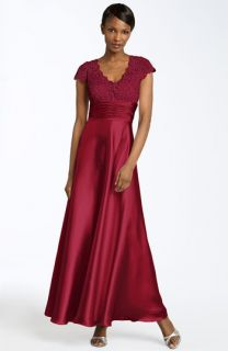 Cachet Satin & Metallic Lace Gown
