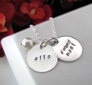 Sterling Silver Stamped Personalized 2 Charms Baby Kids Name Mom