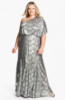 Adrianna Papell One Shoulder Foil Finish Gown (Plus)