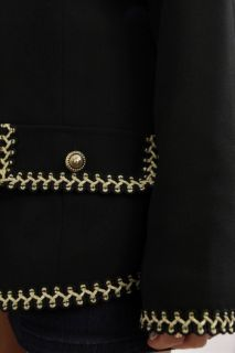 Vintage Coco Military Black Gold Rope Trim Boxy Collarless Suit Jacket