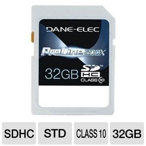 Dane Elec 32GB High Speed SDHC Flash Card 804272736281