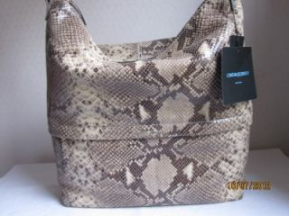 Cynthia Rowley Phyton Print Leather Tote Handbag Purse