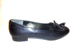 David Tate Black Leather Flats Low Heel Dress Shoes Designer Womens 10
