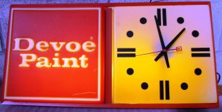 Vintage Devoe Paints Lighted Clock