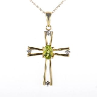 10K Yellow Gold Peridot Diamond Crucifix Pendant