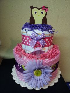 Pink & Purple OWL 2 tier diaper cake baby shower decoration
