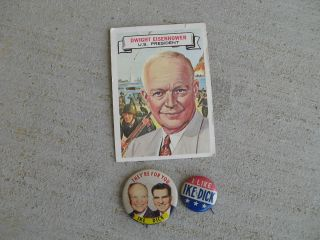 Eisenhower Richard Nixon I like Ike & Dick Button & Topps Trading Card