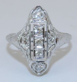 Antique Art Deco 18K White Gold Diamond Filigree Ring Circa 1920s Size