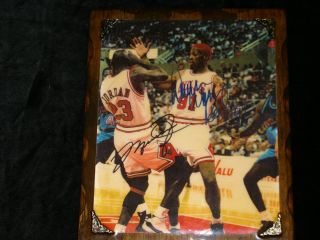 Dennis Rodman Michael Jordan Chicago Bulls Custom Made 9 x 11 Wood