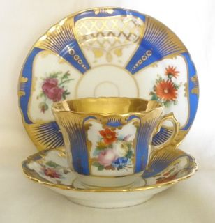 FRENCH OLD PARIS PORCELAIN SET OF CUP & SAUCER MATCHING DESSERT PLATE