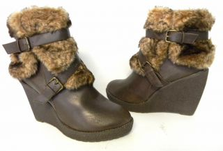 F386 Phat Farm Baby Phat Demaris Brown Leather Faux Fur Sz 11 M Free