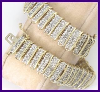 14k Yellow Gold Round Diamond Bar Link Tennis Bracelet 3 38ct 27GRM