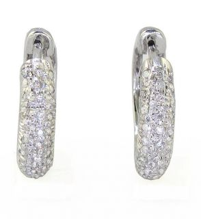 Round Cut Diamond Jewelry 14kt White Gold Hoops Huggie Earrings