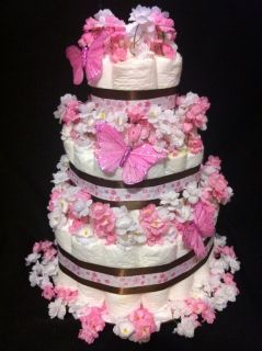 Tier Pink Butterfly Diaper Cake Baby Shower Decoration Gift Neutral