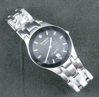 Armitron Diamond Black Face Stainless Steel Quartz Date Watch