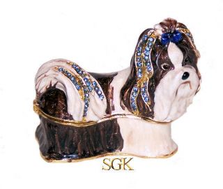 Shih Tzu Dog Bejeweled Jewelry Trinket Box w Gift Box