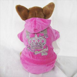 Pink Velvet Crown Hoodie Cute Dog Clothes Chihuahua
