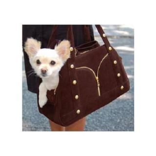 Designer Studded Faux Leather Small Dog Purse Carrier Brown NWT