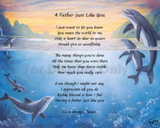 Personalized Poem Birthday Fathers Day Gift Idea Dolphins