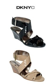 New DKNY DKNYC ELEANOR Ladies Leather Wedge Sandals Shoes $89