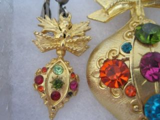 vtg dodds rhinestone ornament brooch pin earring set