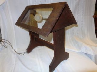 UNIQUE Antique ARTS & CRAFTS Mission Table Lamp Wooden Glass Panels