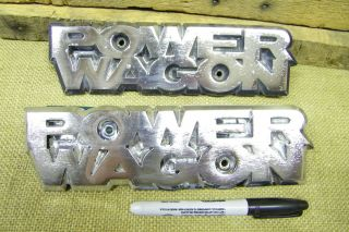 Original CHROME METAL DODGE POWER WAGON EMBLEMS pickup truck w100 w200