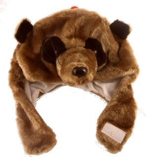 Childs Novelty Fur Animal Face Hat Dog Panda Meercat