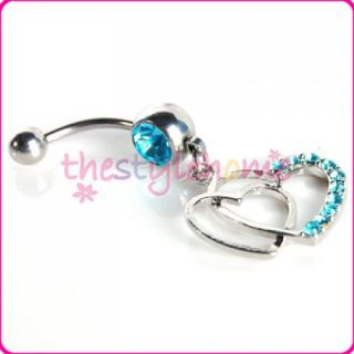 Double Heart Belly Button Navel Ring Dangle w Blue CZ