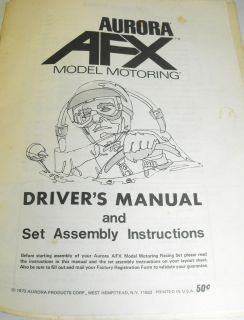 1973 Aurora AFX Drivers Manual Assembly Instructions
