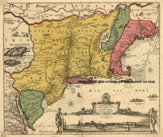 1685 Big Beautiful Dutch Map New York Maine East Coast