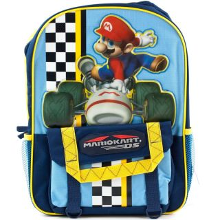 NINTENDO DS Mario Kart Racing School BACKPACK Book Bag Kids Boys