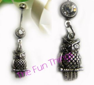 Dangle Owl Double CZ Belly Ring 14ga 7 16 Clear CZ Navel Ring Owl